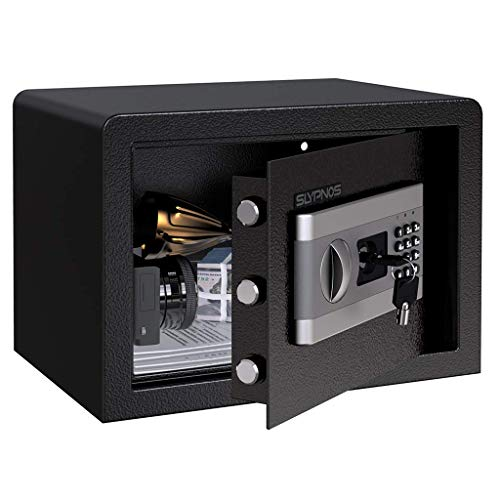 Tresor Safe Slypnos 35x25x25 cm mit 3 Doppelstahlbolzen, elektronischem Zahlenschloss, 2 Notfall Vorrang Tasten, 4 Batterien, für Schmuck Bargeld Dokument