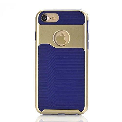 iPhone 7 hülle, Lantier 2 in 1 [weicher harter Tough Case][Anti Skid][Thin Slim Fit][Stoßdämpfung] Wellenmuster Rüstung Schutzhülle für Apple iPhone 7 (4,7 Zoll) golden Rose Golden + Dark Blue
