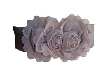 Ceinture Fleur -Elastique - Gris- Taille 38/40
