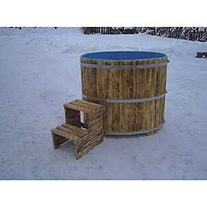 Sauna – Pila de inmersión de madera de abeto exterior flameado interior azul 670