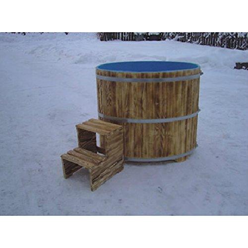 Sauna Tauchbecken aus Fichtenholz außen geflammt innen blau beschichtet 670
