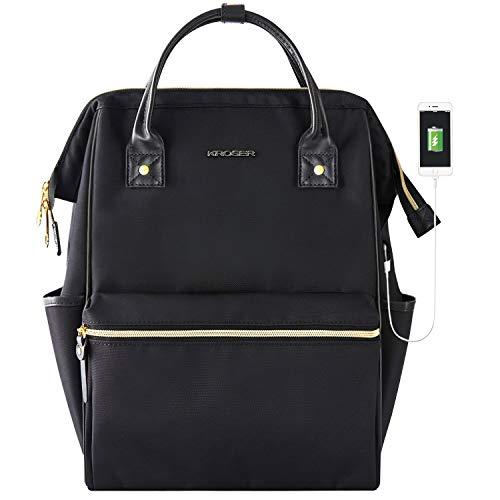 KROSER Laptop Rucksack 15,6 Zoll(39,6cm) Schultasche Daypack Tagesrucksack Wasserabweisend Nylon Laptop Gepäck Tablet mit USB-Ladeanschluss für College/Reisen/Frauen/Männer-Schwarz MEHRWEG