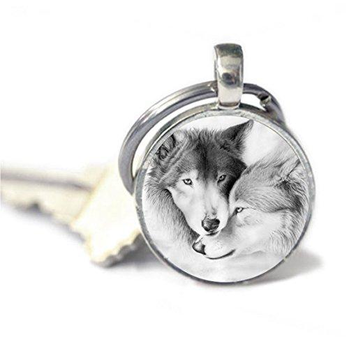 Llavero con diseño de lobo y llavero de llavero
