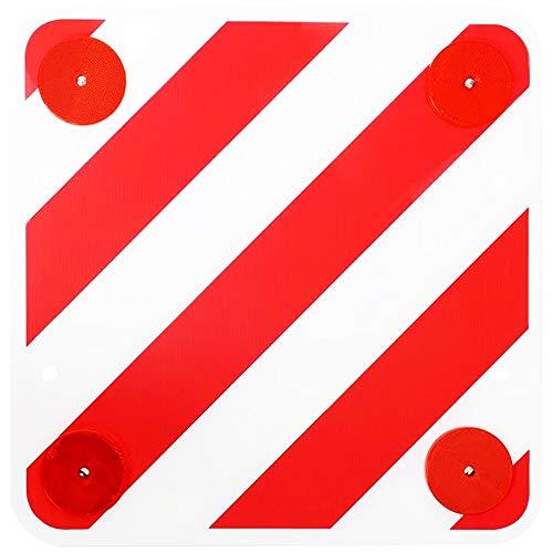 Warntafel mit Reflektoren 50x50 Rot Weiß Warnschild Rückstrahler für Heckträger Wohnmobil Boot Fahrradträger Caravan Anhänger
