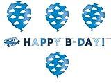 deCOnzept Kindergeburtstag Deko Set Flugzeug Happy Birthday Girlande & 6 Luftballons Wolken Dekoration