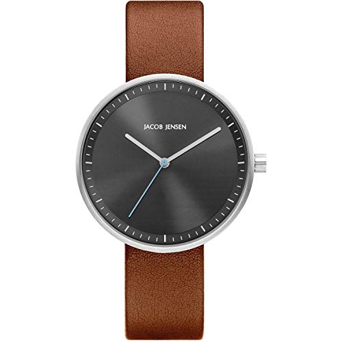Jacob Jensen Strata 285 Ladies Watch with Grey Dial and Brown Leather Strap