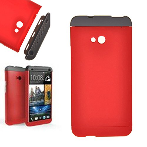 Heartly Double Dip Flip Hard Shell Premium Bumper Back Case Cover For HTC One 802D 802T 802W - Grey Red Red  available at amazon for Rs.439