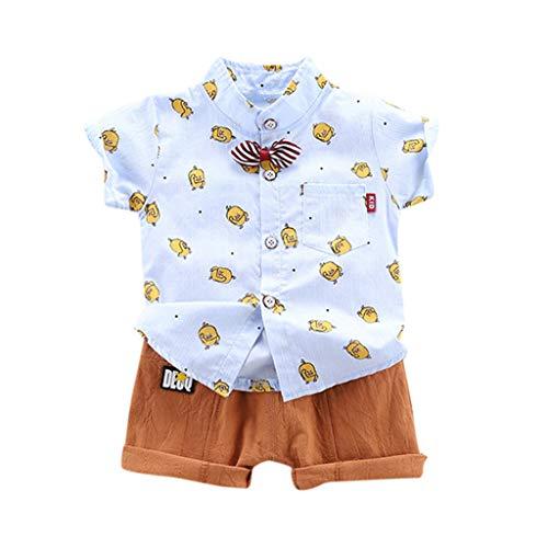 Alwayswin Kinder Baby Jungen Brief Streifen T-Shirt Tops Jeans Hosen Kleidung Outfits Set Sommer Mode Cool Babykleidung Bequem Freizeit Kurzarm Top Jeansshorts Outfits Baby-Outfits -