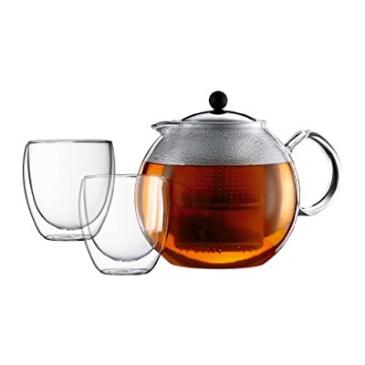 Bodum - K1833-16 - Assam Tea Set - Théière à Piston en Verre - Filtre Plastique - Couvercle Inox - 1.5 L + 2 Verres Double Paroi - Pavina - 25 cl