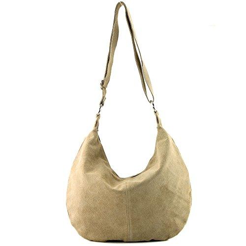 Sac à main italien sac à bandoulière cabas femme en cuir véritable sac T02, Präzise Farbe (nur Farbe):Sandfarben