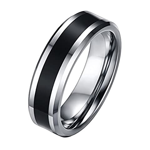 OAKKY Mens 6mm Tungsten Carbide Rings Silver Black Wedding Bands