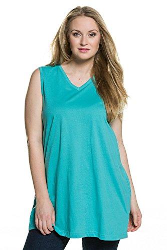 Ulla Popken Femme Grandes tailles Débardeur Femme Sans manches Vest T-shirt Coton Caraco Top t-shirt dentelle blouse courtes manches 531122 émeraude