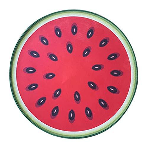 Rund Teppich Wohnzimmer Kinderzimmer Schlafzimmer Kuche Esszimmer, Morbuy 3D Sommer Obst Anti Rutsch Unterlage Teppiche Modern rutschfest Waschbare Weiche Spielmatte (100x100cm,Wassermelone)