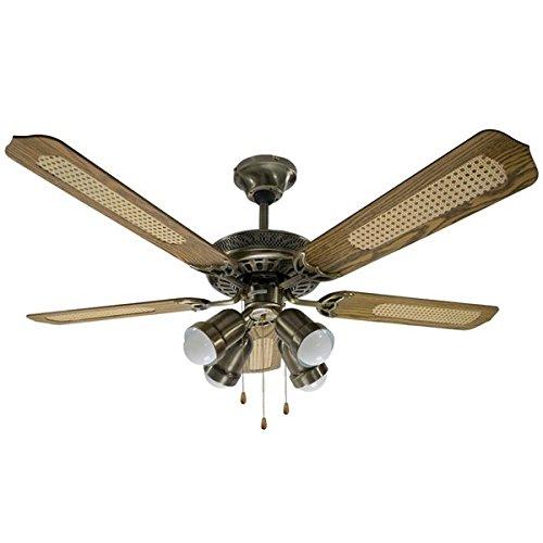Rovex Ventilateur de plafond 130 cm 4 Lumières et 5 pales Reversible Bronze et Bois