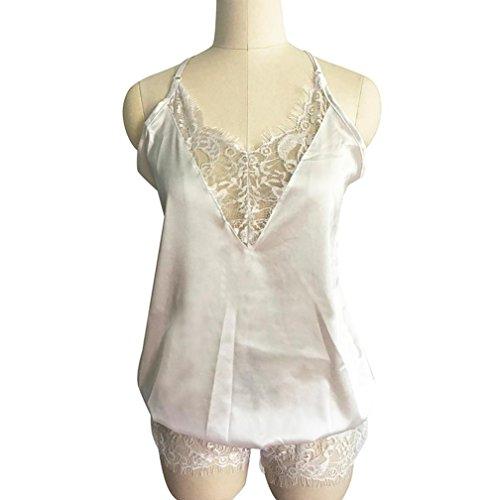 Amlaiworld Donne scollo a V pizzo indumenti da notte Lingerie Clubwear tuta Bianco