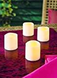 4er Set LED Votiv Kerzen elfenbein mit flackernder LED | bernstein farbene LED Kerzen mit täuschend echter Optik | perfekt auch als Beleuchtung für den Adventskranz oder als Weihnachtsbeleuchtung
