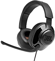 JBL Quantum 300 Hybrid Wired Over-Ear Gaming Headset with QuantumSurround & Flip-up Mic (Bl