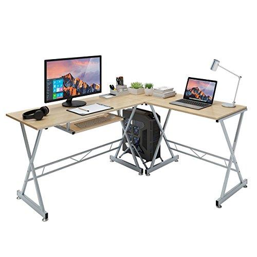 SLYPNOS Escritorio de Esquina, Mesa de Ordenador en Moderno Forma L, Mesa de Estudio Esquina, MDF+Acero, Capacidad máxima 50 Kg para Hogar, Oficina, Estudio (Color Roble)