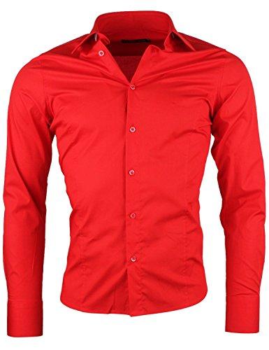 Redbridge by cipo & baxx camicia a maniche lunghe da uomo, business rot xl