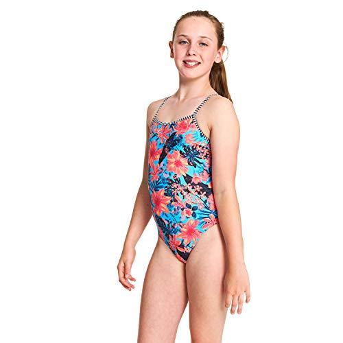 Zoggs Mädchen Wunderlust Yaroomba Floral Badeanzug, Blau/Mehrfarbig, XS/6 Jahre -