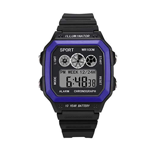 Digital Sport Uhren für Herren, Skxinn Unisex-Stoppuhr 30M Wasserdicht multifunktionale Mode Sport LED Armbanduhren Ausverkauf(Blau,One Size) -