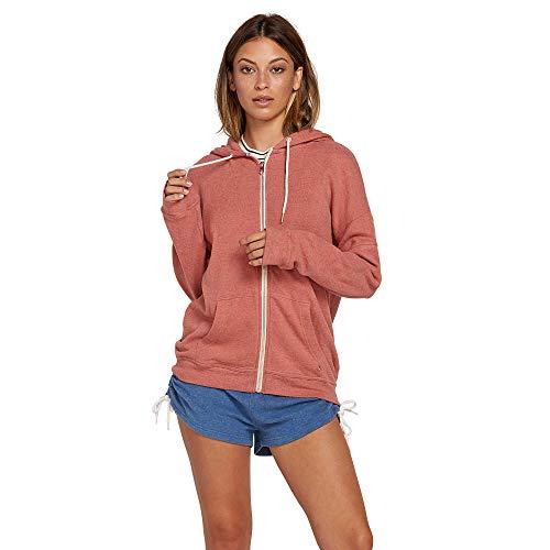 Volcom Junior's Womens Lil Zip Up Hooded Fleece Sweatshirt -