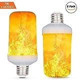 Lampadina 7W LED a effetto fiamma, 4 modalità con effetto capovolto, lampadina LED E26 Base, lampadina a fiamma per Halloween Home/Hotel / Bar Decorazione Party -2 Confezione