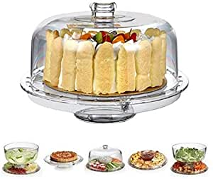 Jumix Cake Stand with Dome Cover (6 in 1) Multi-Functional Serving Platter and Cake Plate - Use as Cake Holder, Salad Bowl, Platter, Punch Bowl, Desert Platter, Nachos & Salsa Plate, (Acrylic)