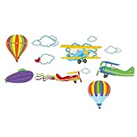 Ruiting Removable Cartoon Airplane and Hot Air Balloons Wall sticker decals Nursery Kids Room Home Decoration