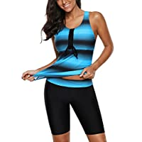 Aleumdr Womens Fashion Cross Rope Front Printed Tankini with Boyshort Swimming Costume Sporty Racerback Swimsuit Blue XX-Large