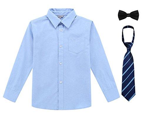 Bienzoe ragazzo uniforme scolastica manica lunga bottone giù oxford camicia blu dimensione 16