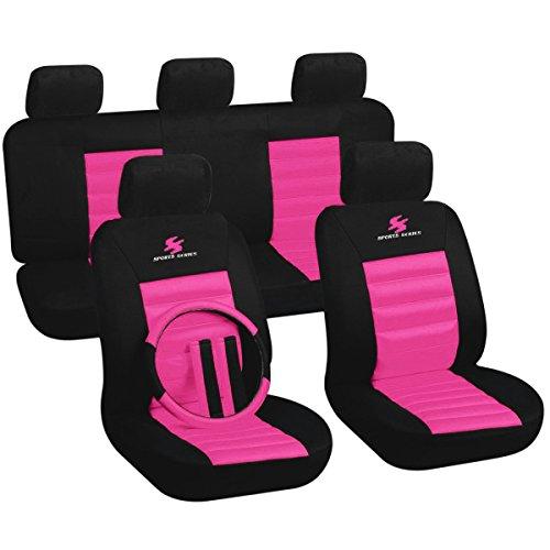 WOLTU AS7264rs Set Completo di Coprisedili Auto 5 Posti Seat Cover Donna Protezioni Universali per Macchina Tessuto Poliestere Rosa-Nero