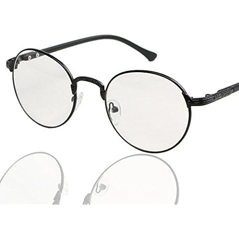 ZWX Vintage occhiali rotondi di struttura in metallo/Specchio piatto decorativo fresco-B