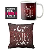 YaYa Cafe Birthday Bhaidooj Gifts For Sister Combo, Best Sister Ever Set Of 3 - Mug, Coaster, Cushion Cover