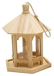 Futterhaus, Vogelhaus, 6-eckig, aus Rohholz