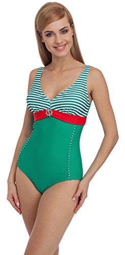 Merry Style Damen Badeanzug 1Q51 (Grün/Rot, 38)