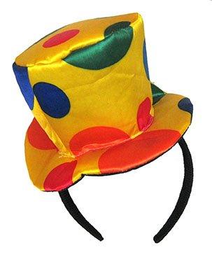 uf Haarreif - bunt gepunkteter Hut auf schwarzen Haarreif - Einheitsgröße Erwachsene - Karneval Kostüm Zubehör Accessoires Clown - Atrumpa ()