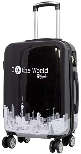 Trendyshop365 Hartschalen Handgepäck Rollkoffer mit Motiv Bedruckt - Fly The World Schwarz - 58 Zentimeter 46 Liter 4 Rollen Flugzeug Städtedesign