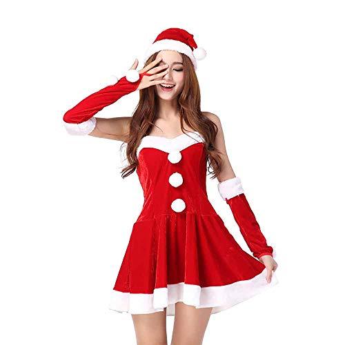 Santa Anzug Adult Cosplay Prinzessin Kostüm Sexy Uniformen Rot Zubehör Kostüm Outfits Für Weihnachten/Karneval Halloween Kostüme,Red,OneSize (Billig Sexy Santa Kostüm)