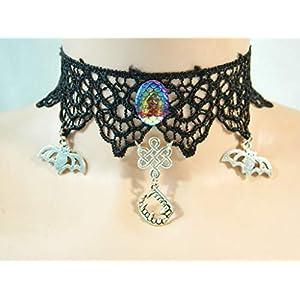 Choker schwarz Spitze Fledermaus Zähne Gebiss Halskette Damenkette