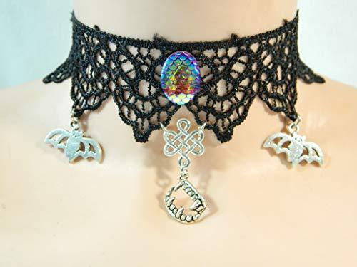 Kostüm Zähne Spitzen - Choker schwarz Spitze Fledermaus Zähne Gebiss Halskette Damenkette