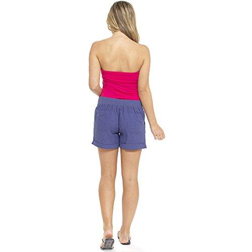 Damen Einheitliche Farbe Rippen Hüfte Gekrempelt Leinen Sommer Kurzes Höschen Shorts Weiß - Weiß