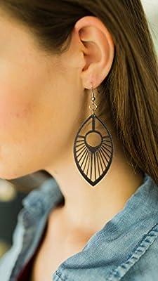 John Leslie Studios femmes Bois de plume de paon Boucles d'oreilles de Solid Noir Erable moiré noir