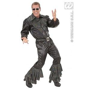 WIDMANN Pantalón de raso de lentejuelas holográficas negro Carnaval