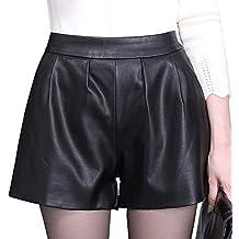 b7a2a3296044c3 DISSA F7952 Damen Pu-Leder Große Größe Hohe Taille Shorts ...