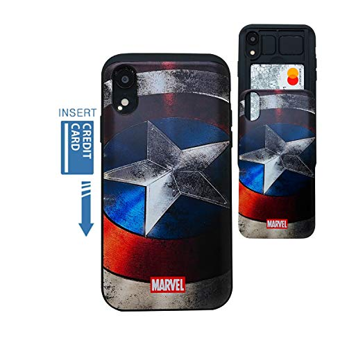 [iPhone XR Wallet Case] Kubrick Kartenhalter Slide Cover Bumper Handy Hülle Dual Layer Schutz Comics Super Hero UV Druck, Vibranium Shield -
