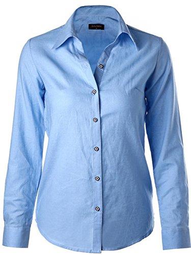 Dioufond Femme Chemise Col V à Manches Longues Coton Chemisier Shirt Tops Blouse BluePhenix