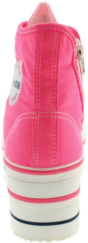 Maxstar CN9 7 trous-Double fermeture éclair en forme de chaussure Sneaker Rose - Rose fluo