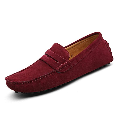 XiaoYouYu Loafers, Basses homme Vin rouge