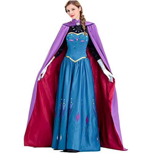 TINGSHOP Anna Kostüm Mit Schal Für Erwachsene Zeremonie Anime Schneekönigin Cosplay Kostüm Prinzessin Weihnachten Halloween Maskerade Festival Karneval Kostüme,XL (Anime Kostüm Für Erwachsene)